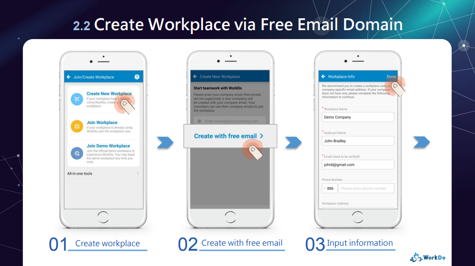 Create workplace (Free email domain)