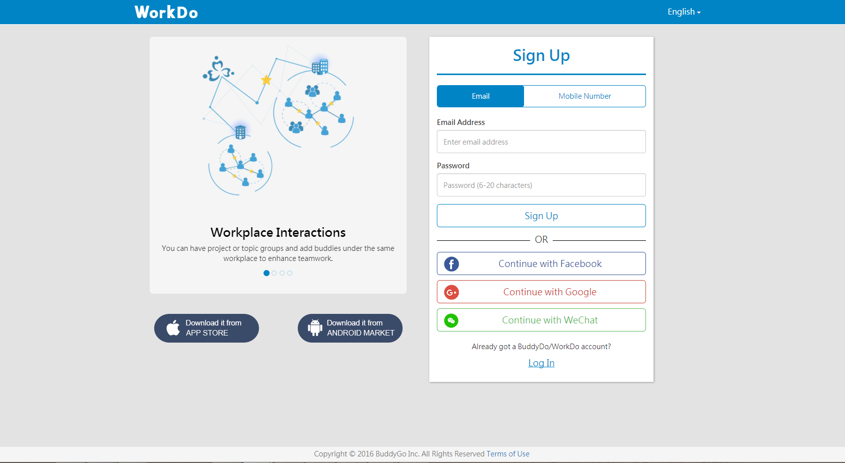 WorkDo Web Sign Up with Email