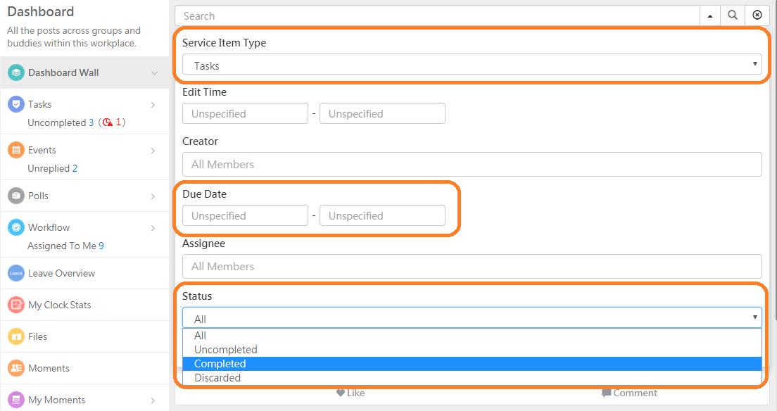 WorkDo Web Task Advanced Search