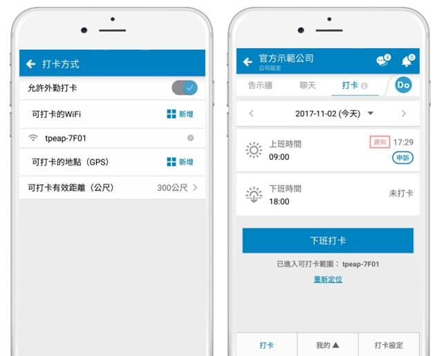 ▲WorkDo 透過Wi-Fi 和 GPS,一次解決企業內外勤打卡問題。