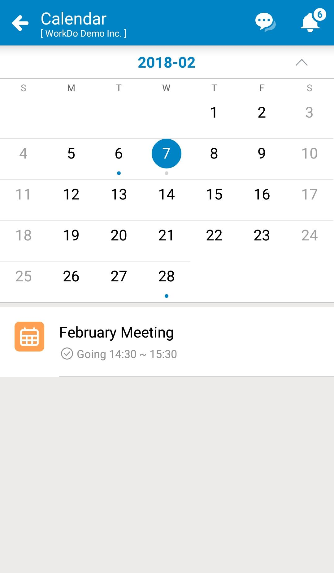 WorkDo, Dashboard, Calendar