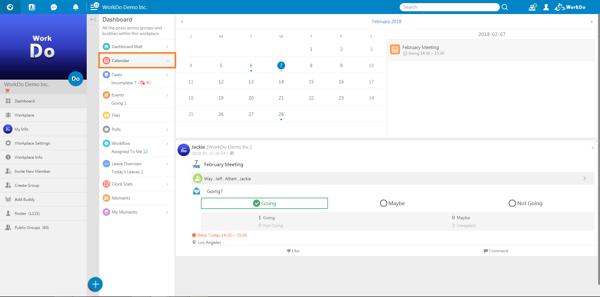 WorkDo, web, Dashboard Calendar